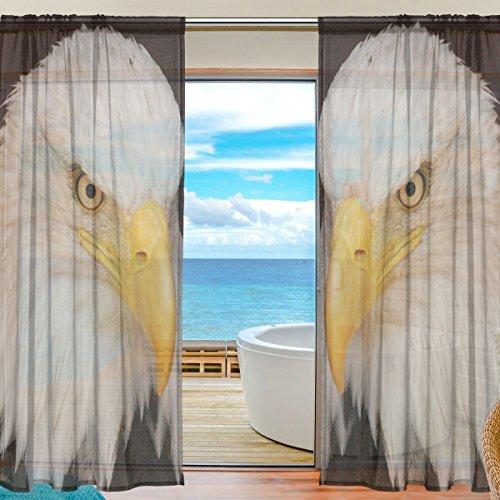 American Bald Eagle Window Sheer Curtain Panels, Christmas Decoration, Door Window Gauze Curtains Living Room Bedroom Kid Office Window Curtain 55x78 inch Two Panels Set