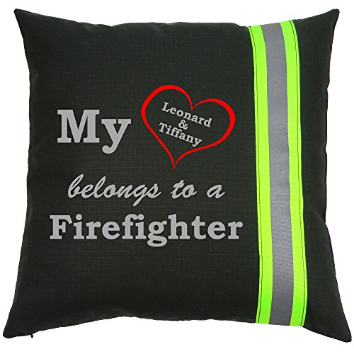 Personalized Firefighter Couple Throw Pillow My Heart Belongs to a Firefighter (Black)