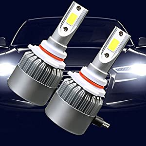 9006 Led Headlight Bulbs, VKOSHA Headlamps Conversion Kits, All-in-One Automobile Lamp Replacement with Advanced COB Chips, Waterproof 72W 6000K Cool White Light 2pcs (One Set)- 1Year Warrenty