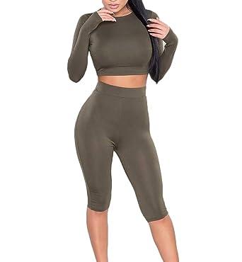 d050cdacc8f Women Tracksuit Long Sleeve Crop Top High Waist Leggings Sport Yoga Pants  Sets Casual Bodycon 2Pcs
