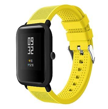 Saisiyiky Banda de Silicona Correa Compatible con AMAZFIT Bip Xiaomi Huami Pulsera/Ajustable para Smartwatch Reemplazo de Correa (Amarillo)