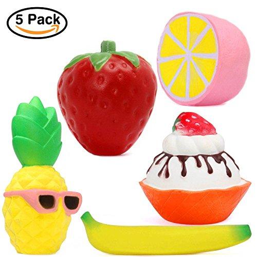 OYE HOYE 5 PCS Jumbo Squishies Strawburry Lemon Banana Pinea