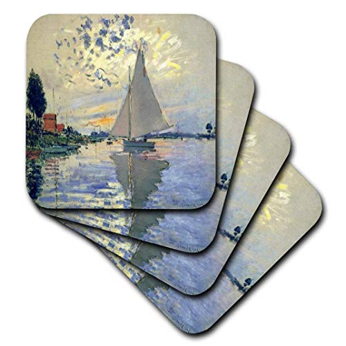 3dRose Print of Monet Painting Sailboat at Le Petit - Soft Coasters, Set of 8 (CST_203678_2) (Monet Sailboats)