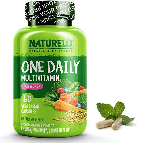 NATURELO One Daily Multivitamin for Women - Best for Hair, Skin, Nails - Natural Energy Support - Whole Food Supplement - Non-GMO - No Soy - Gluten Free - 60 -