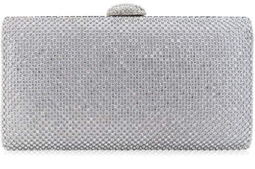 Dexmay Large Rhinestone Crystal Clutch Evening Bag Women Clutch Purse for Cocktail Prom Party Silver ()