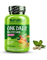 NATURELO One Daily Multivitamin for Women - Best for Hair, Skin Nails - Natural Energy Support - Whole Food Supplement - Non - GMO - No Soy - Gluten Free 60 Capsules