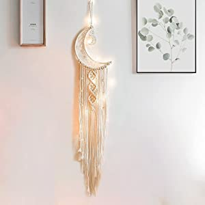 MGahyi Dream Catcher Wall Decor, Handmade Macrame Moon Dreamcatcher with Light, Bohemian Woven Wall Hanging Decor, Teenage Girls Bedroom Decoration Craft Gifts