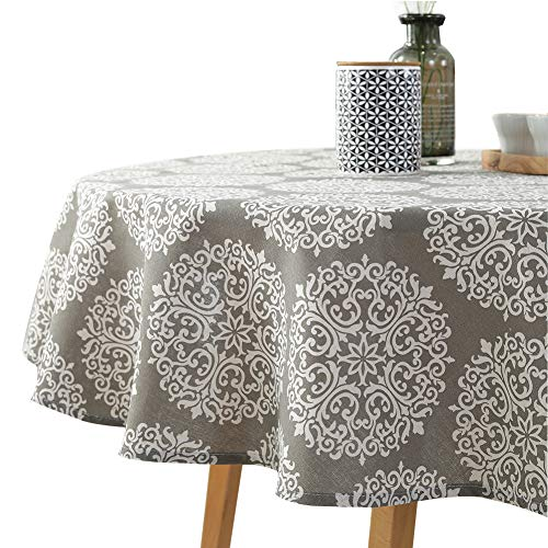 ColorBird Grey Medallion Tablecloth Cotton Linen Dust-Proof Table Cover for Kitchen Dinning Tabletop Linen Decor (Round, 60 Inch) (Dining 60' Room Round)