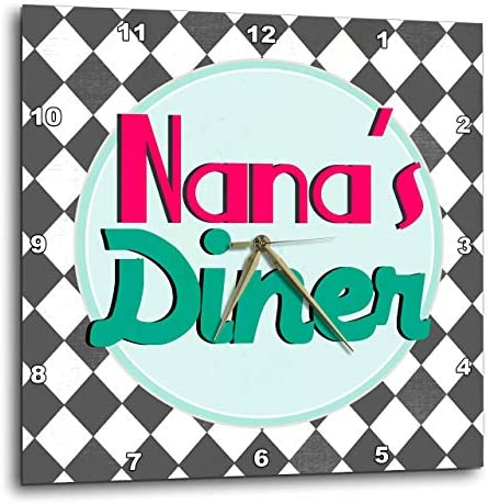3dRose DPP_151663_2 Nanas Diner Sign on Black Retro Hot Pink Turquoise Teal Blue 1950S 50S Fifties Grandmas Kitchen Wall Clock, 13 by 13-Inch
