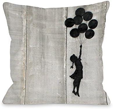 One Bella Casa Balloon Throw Pillow by Banksy, 18 x 18 , Gray