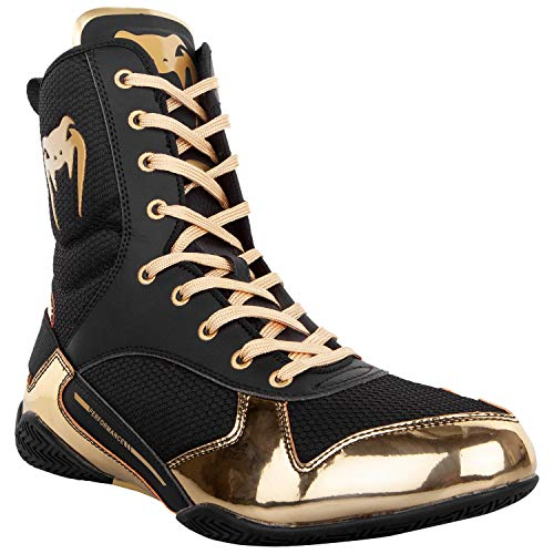 Venum Elite Boxing Shoes - Black/Gold - Size 11 (45)