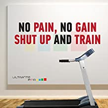 NO PAIN NO GAIN SHUT UP AND TRAIN A Black - Red Home and Gym Motivate Wall Decal