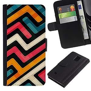 """Samsung Galaxy Note 4 IV / SM-N910 , la tarjeta de Crédito Slots PU Funda de cuero Monedero caso cubierta de piel ("""" Abstract Funky Modern Blue Orange White"""")"""