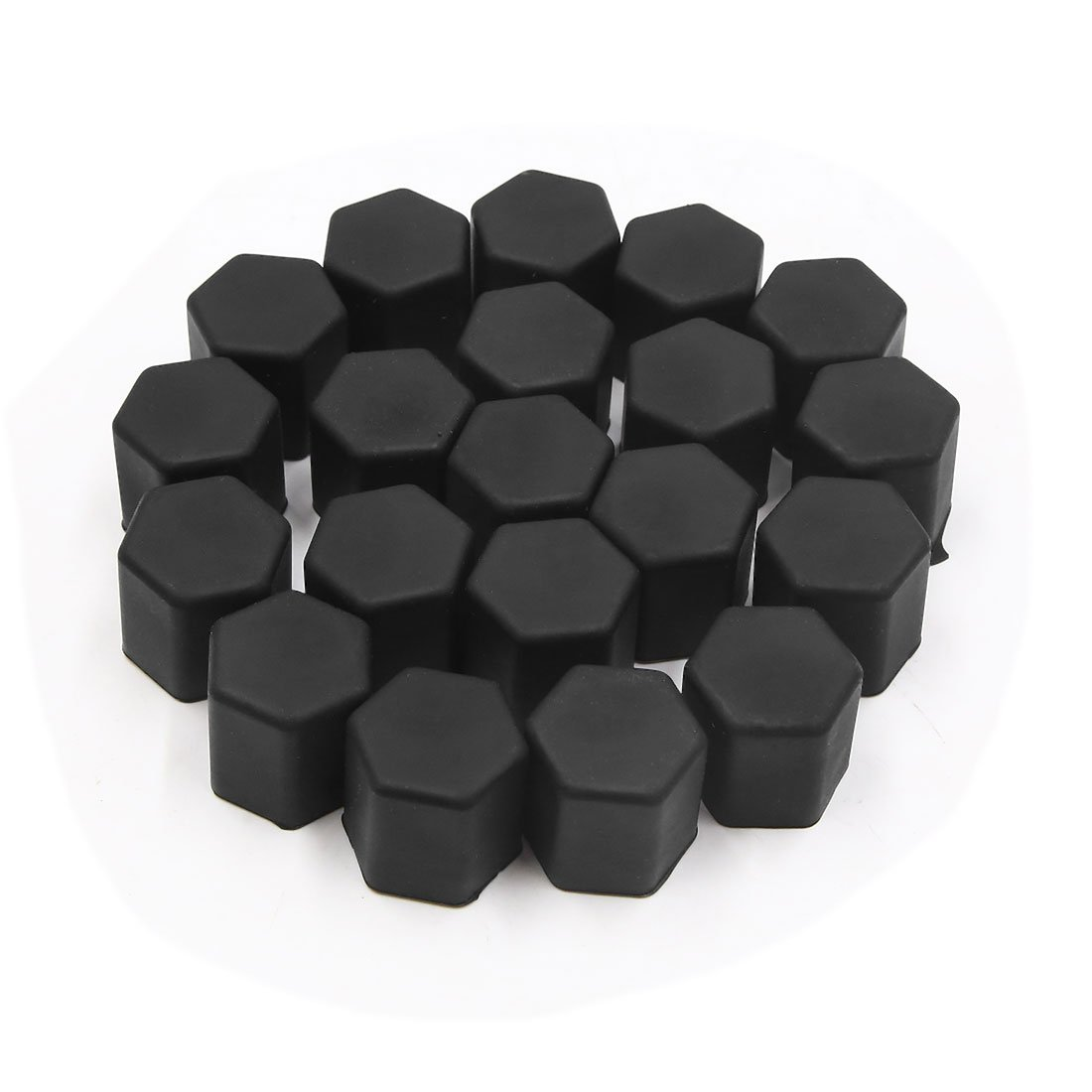 uxcell 20pcs 15mm Rubber Car Wheel Tire Tyre Nut Screw Cover Caps Hub Protector Black