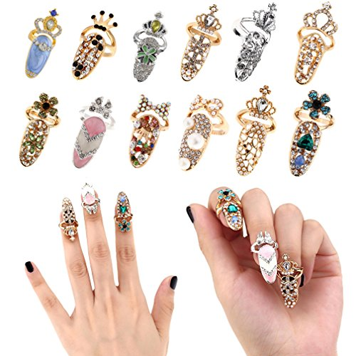 AiQueen 12 Pcs Bowknot Nail Ring Luxury Fingernails Ring Charm Nail Art Charms Crown Flower Crystal Finger Nail Rings Nail Decoration for Woman Girls ()