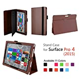 Hix Case for Microsoft Surface Pro 4 - PU Leather Folio Stand Cover with Stylus Holder for Surface Pro 4 12.3 Inch Tablet, Compatible with Surface Pro 4 Type Cover Keyboard (Brown)