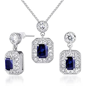Created Sapphire Pendant Earrings Neckalce Set Sterling Silver 3.50 Carats