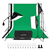 CRAPHY 2000W Photography Studio 4-Socket Softbox Continuous Lighting Kit with Backdrop Stand,Background (Green,White,Black),45w Lamp,Light Stand,Holder Kit and Portable Bag for Portrait