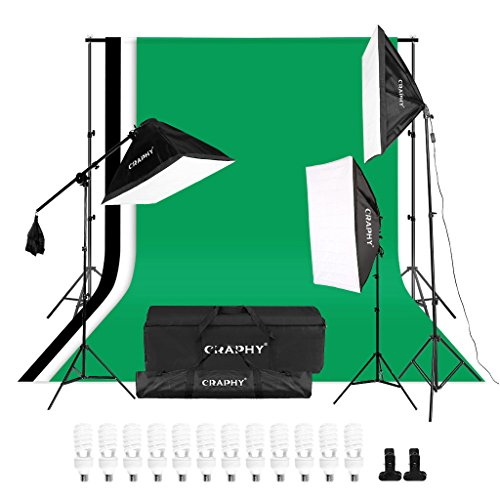 CRAPHY Photography Studio Lights Continuous Soft Box Lighting Kit 45W 5500k Daylight Soft Box (20×26″) + Background Support Stand (10×6.5FT) + 3 Backdrops (9x6FT, White Back Green) + Carrying Bag
