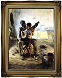 Historic Art Gallery the Banjo Lesson by Henry Ossawa Tanner Framed Canvas Print, 18'' x 24'', Ornate Gold Lined