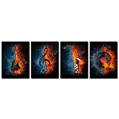 VVOVV Wall Decor - 4 Panel Music Canvas Painting Water and Fire Instrument Series Picture Prints Electric Guitar,Music Note,Saxophone and Turntable Wall Art Poster Decor for Bedroom