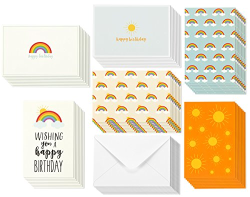 Happy Birthday Greeting Cards - Rainbow and Sun Designs - Bulk Box Set- Blank Inside - Includes 48 Cards and Envelopes - 4 x 6 Inches