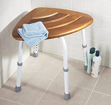 Amazon.com: Drive Medical Teak Adjustable Height Bath Stool Shower ...