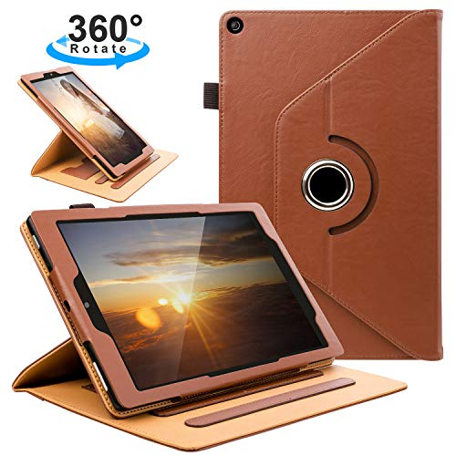 ZTOZ All New HD 10 Tablet (7th Generation,2017 Released) Cover Case with Card Slots, 360 Degree Rotating and Multi-Angle Viewing Stand with Auto Sleep Wake for 10.1 inch HD10 Tablets - Brown