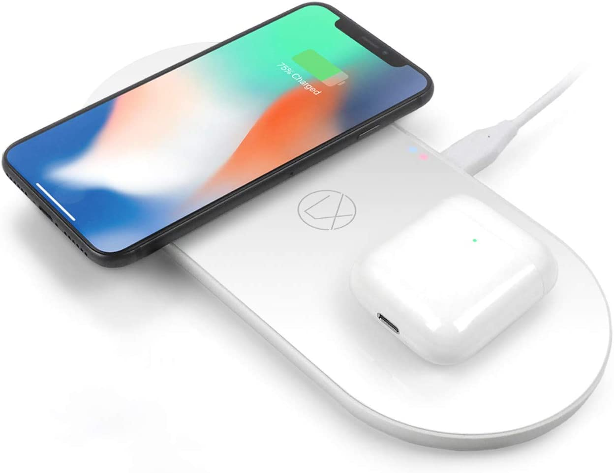 Wireless Charging Station 3 in 1 for iPhone 8/x/11/12 Airpods Galaxy Note S8/9/10/ and All Other Qi Enabled Wireless Charging Devices - Fast Dual Wireless Charger qi Pad (18W AC Adapter Included)