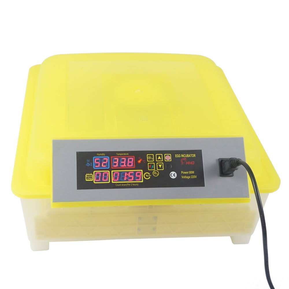 48 Eggs Fully Automatic Poultry Incubator Hatching Eggs Machine Digital Egg Hatcher Turning Temperature Control 80W, Yellow & Transparent