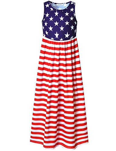 (Perfashion Big Girls Star Stripes Maxi Dress 4th July Sleeveless Cotton USA Flag)