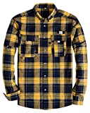 Alimens & Gentle Men's Button Down Regular Fit Long Sleeve Plaid Flannel Casual Shirts - Color: Yellow-New Pockets, Size: Medium