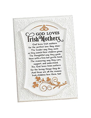 Biddy Murphy 'God Loves Irish Mothers'' Irish Wall Decor Cream Celtic Irish Blessing Family Home Plaque for Irish Mother's Ready to Hang Wall Hanging
