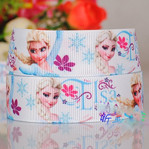 10 Yards 7/8 Inch White Flower Elsa Frozen Princess Cartoon Printed Grosgrain Ribbon No.9587646