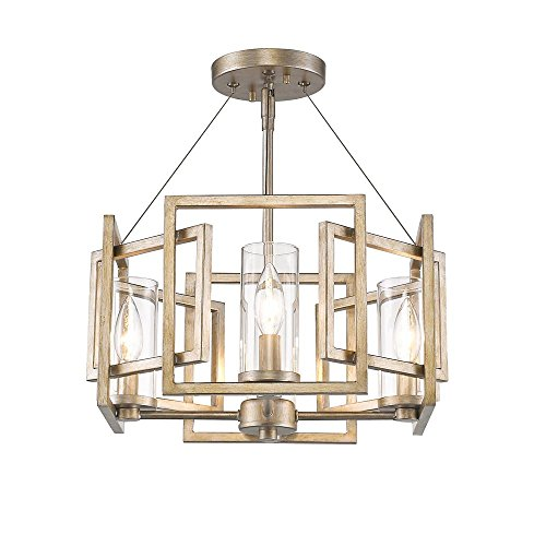 Golden Lighting 6068-SF WG Marco WG - Four Light Convertible Semi-Flush Mount, White Gold Finish with Clear Glass - Marco Modern Pendant