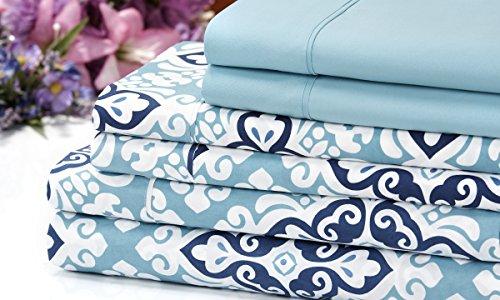 Venetian 1200 Series Soft Brushed Microfiber 6 Piece Deep Pocket Sheet Set - 12 Designs - 2 Bonus Solid Pillowcases (Queen, Blue Medallion)