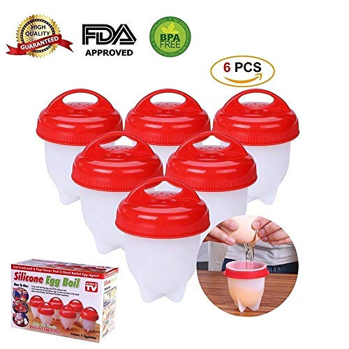 DaliNova Silicone Egg Cooker, Hard and Soft Make, No Shell, Non Stick Silicone, BPA Free, Egg Boiler, Egg Cups, Egg Poachers, Egg Cooker (6 pack) (Red) -