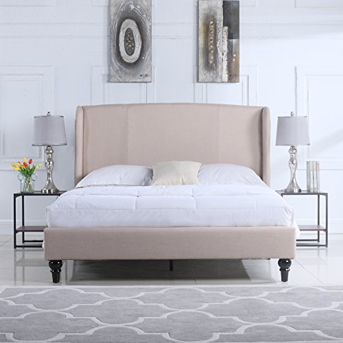 (DIVANO ROMA FURNITURE Classic Deluxe Linen Platform Bed Frame with Upholstered Shelter Headboard (Full, Ivory))