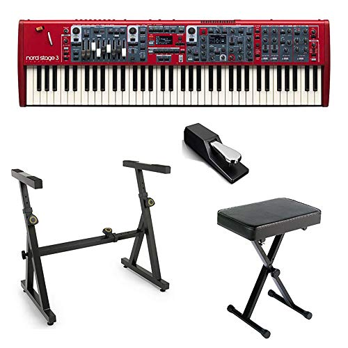 Nord Stage 3 Compact 73-Key Semi-Weighted-Action Digital Piano NSTAGE3-COMPACT with Heavy Duty Z-Stand, Piano Bench, and Sustain Pedal