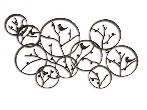 DecorShore Harper Wall Sculpture, Antique Bronze Finish Iron Metal Wall Art with Songbirds in Winter Berry Tree