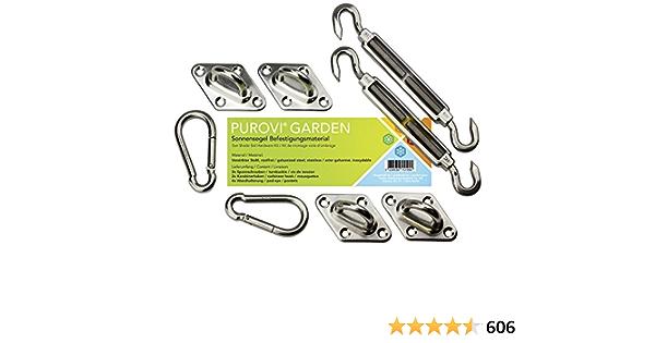 Purovi® Kit de Montaje para Toldo | Fácil Montaje | Acero Inoxidable Galvanizado | Máxima Sujeción