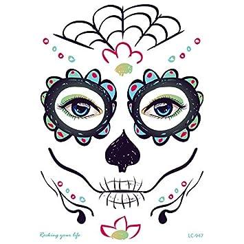 ZHONGYU Kit temporal del tatuaje de la cara, día de la mascarada ...