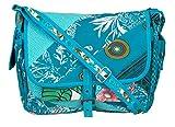 Tribe Azure Large Patchwork Canvas Crossbody Messenger Hobo Shoulder Bag Travel Laptop School Versatile Pockets Multi-functional Adjustable Satchel Boho (Blue)
