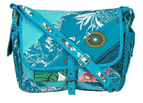 Style Canvas Messenger - Tribe Azure Large Patchwork Canvas Crossbody Messenger Hobo Shoulder Bag Travel Laptop School Versatile Pockets Multi-functional Adjustable Satchel Boho (Blue)