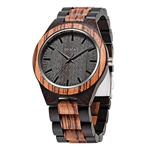 Men Wood Watch Quartz  Bymax Fashion Handmade Gift Analog Wrist Watches Round Zebra Black