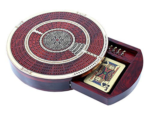 (House of Cribbage - Round Shape 4 Tracks Continuous Cribbage Board Maple / Bloodwood with Push Drawer & place for Skunks, Corners & Won Games)