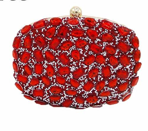 Banchetti Borse Mini Wlfhm Colori Per Da Donne Sera Diamanti Frizioni Red D9H2IWE