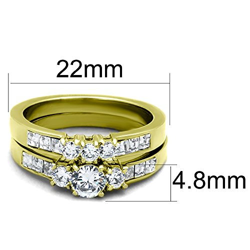 1ccb12935cfd3 His Hers Couples Rings Set 14K Gold Plated Small Round CZ Engagement ...
