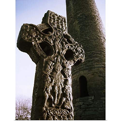 GREATBIGCANVAS Poster Print Entitled Abbey of Kells, Kells, County Meath, Ireland, High Cross and Round Tower by The Irish Image Collection 30