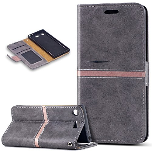 Sony Xperia XZ1 Compact Case,Sony Xperia XZ1 Compact Cover,ikasus PU Leather Fold Wallet Pouch Case Wallet Flip Cover Bookstyle Card Slot & Stand Protective Case Cover for Sony Xperia XZ1 Compact,Gray ()
